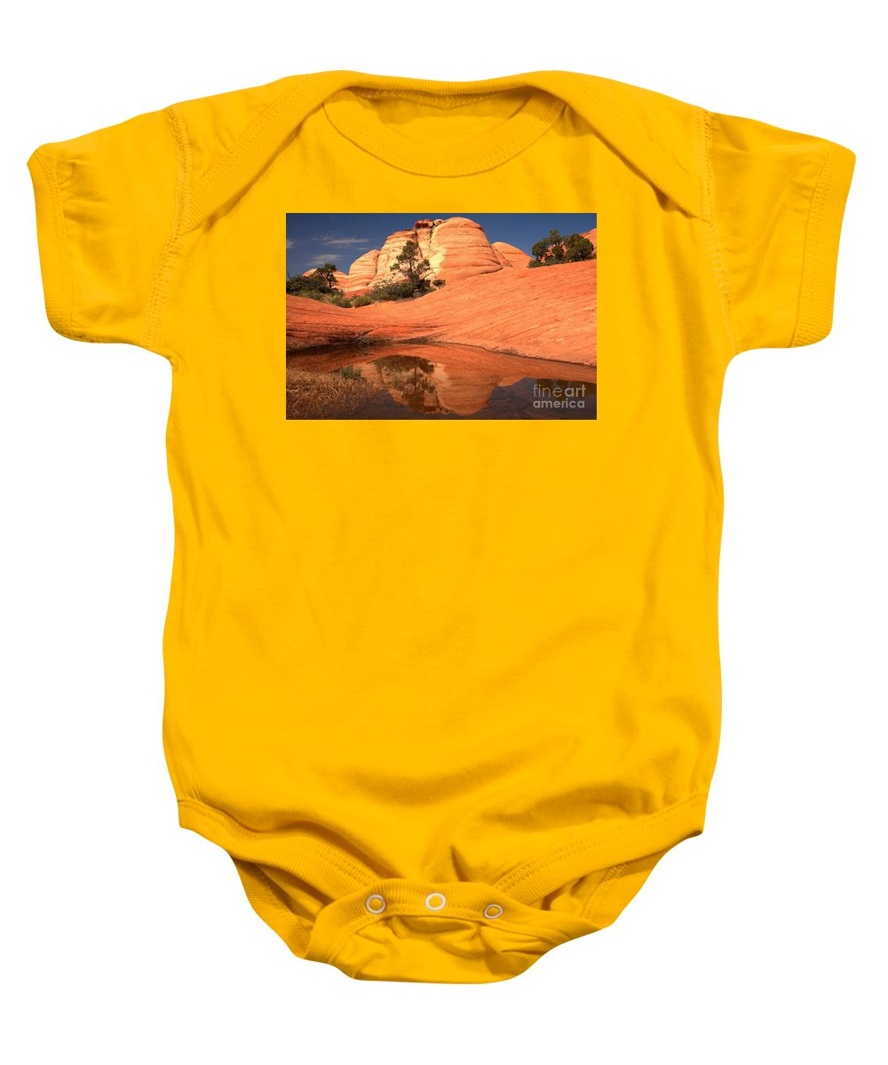 Yant Flat Reflections Baby Onesie featuring the photograph Red And White Reflections In Blue by Adam Jewell