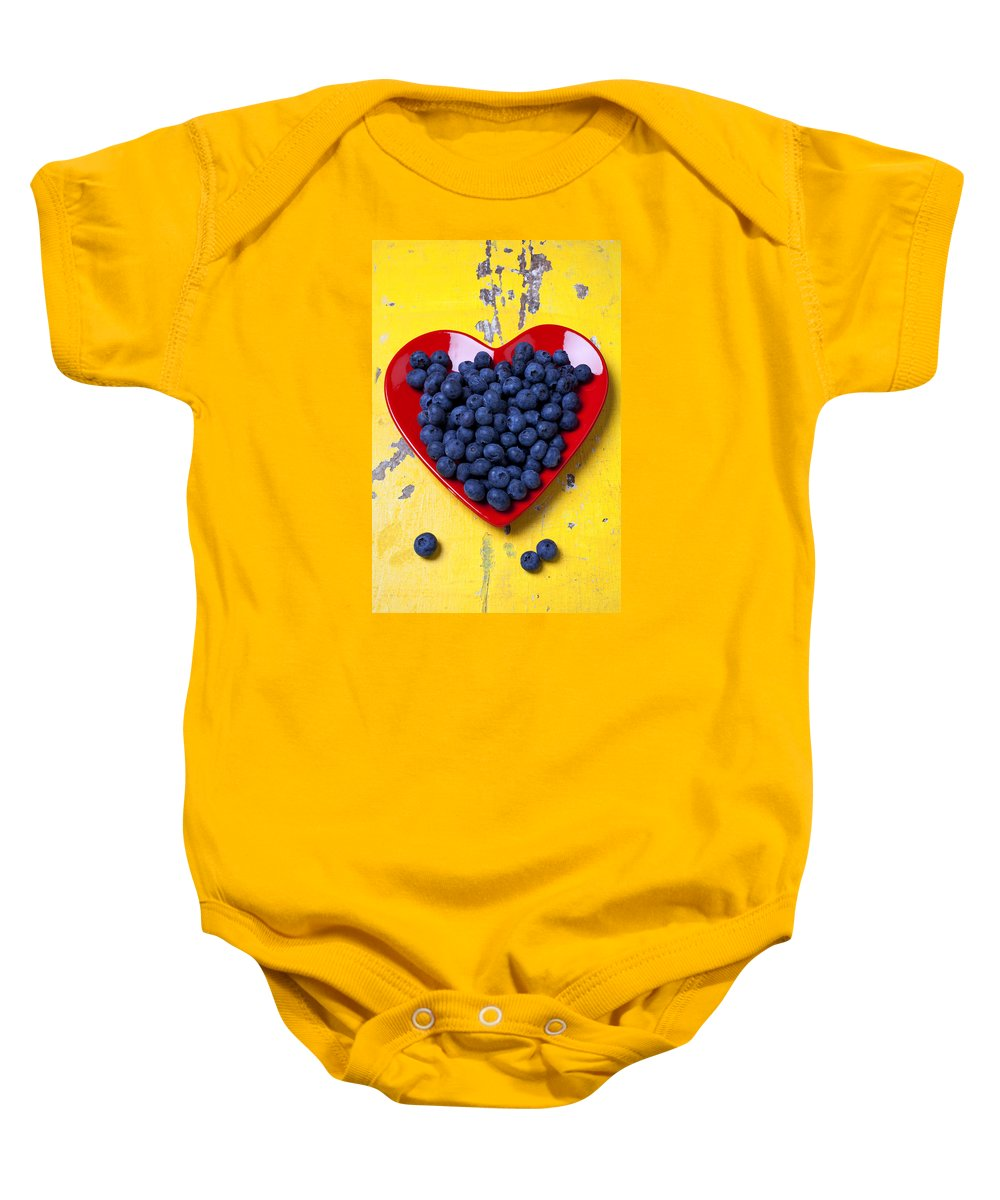 Red Heart Shaped Plate Baby Onesie featuring the photograph Red Heart Plate With Blueberries by Garry Gay