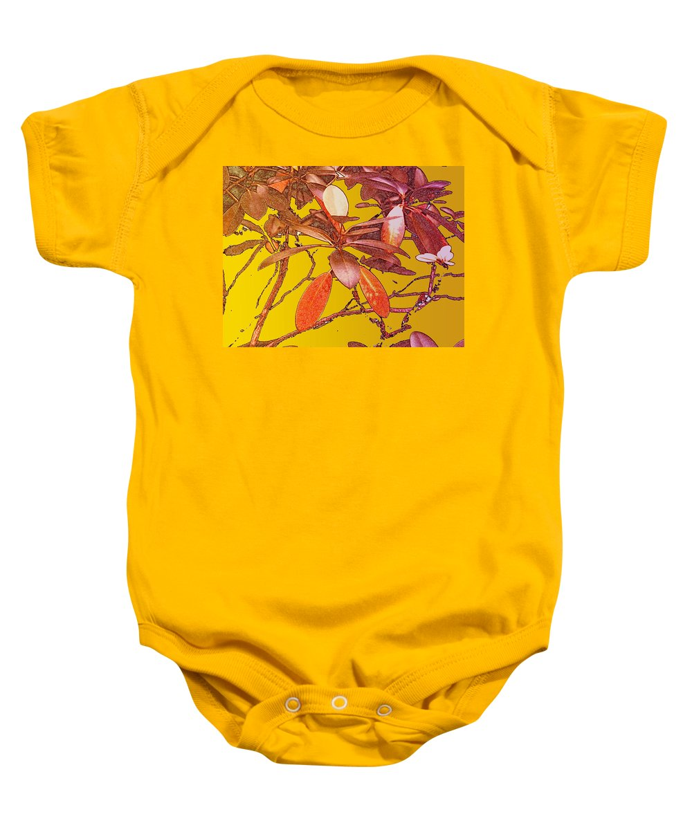 Red Baby Onesie featuring the photograph Red Leaves Gold Sunset by Ian MacDonald