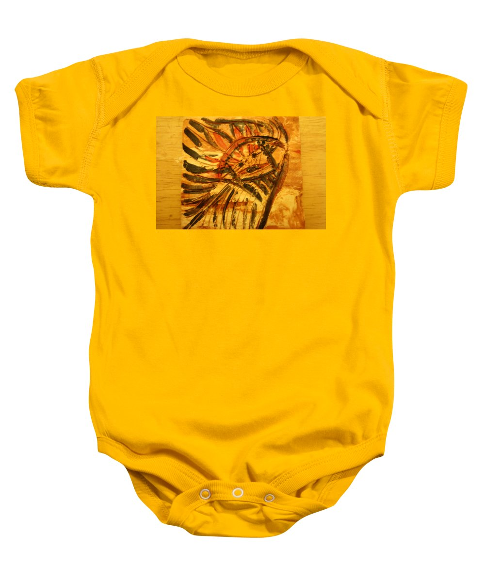 Jesus Baby Onesie featuring the ceramic art Red Liberty - Tile by Gloria Ssali