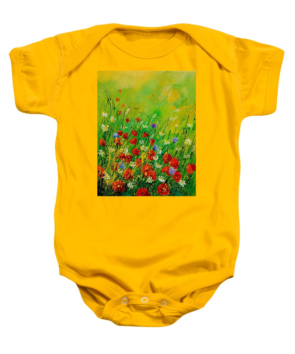 Flowers Baby Onesie featuring the painting Red Poppies 450708 by Pol Ledent