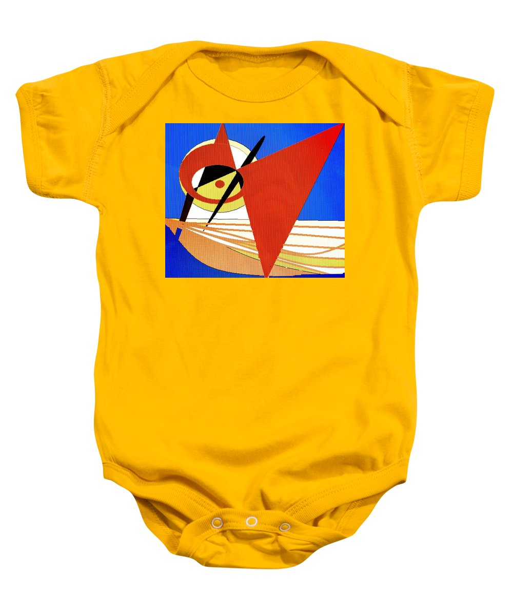 Boat Baby Onesie featuring the digital art Red Sails In The Sunset by Ian MacDonald