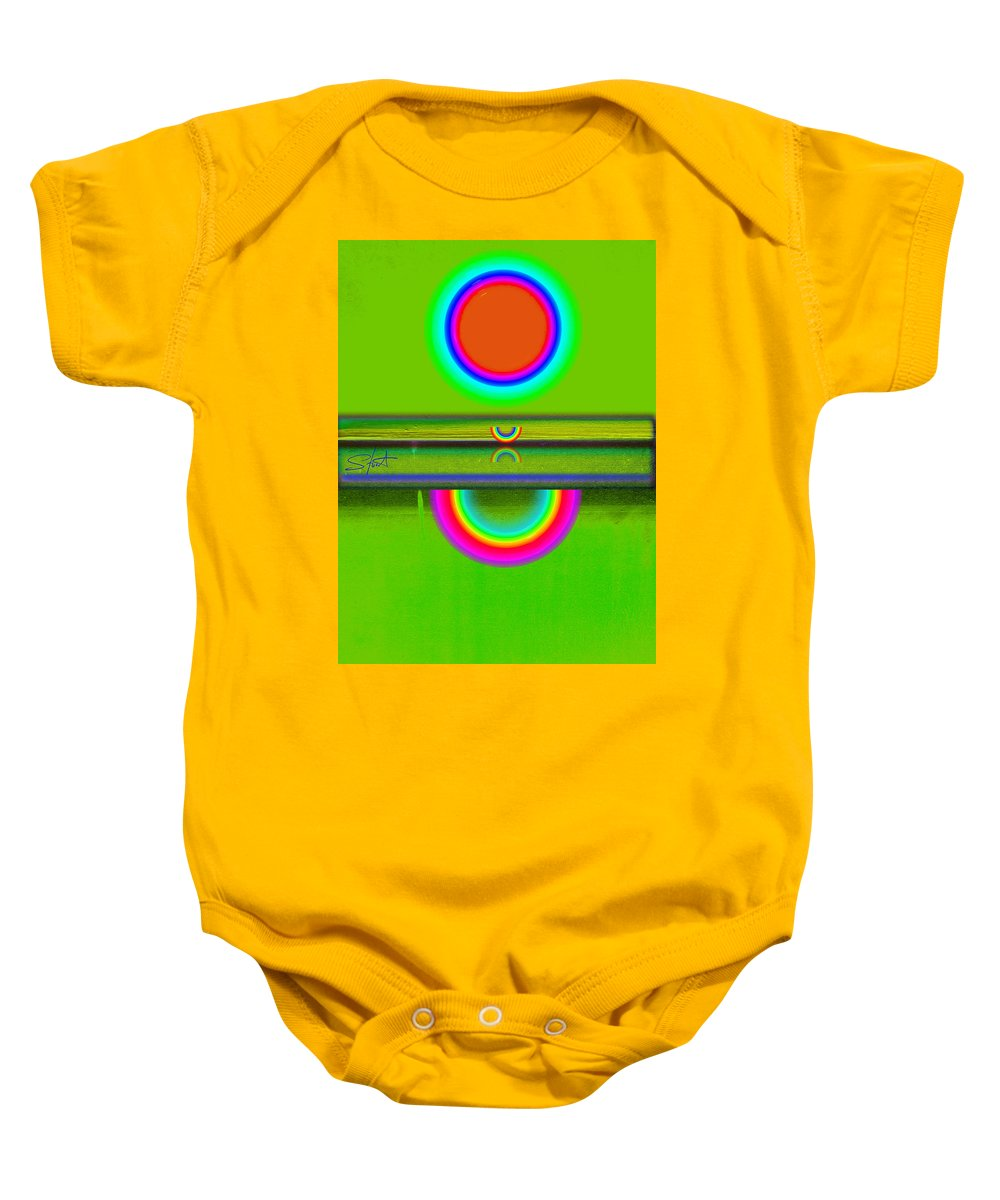 Reflections Baby Onesie featuring the painting Reflections On Green by Charles Stuart