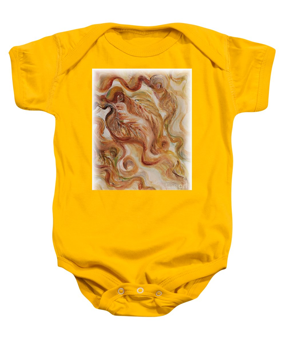 Leaves Baby Onesie featuring the painting Reflective Leaves by Nadine Rippelmeyer