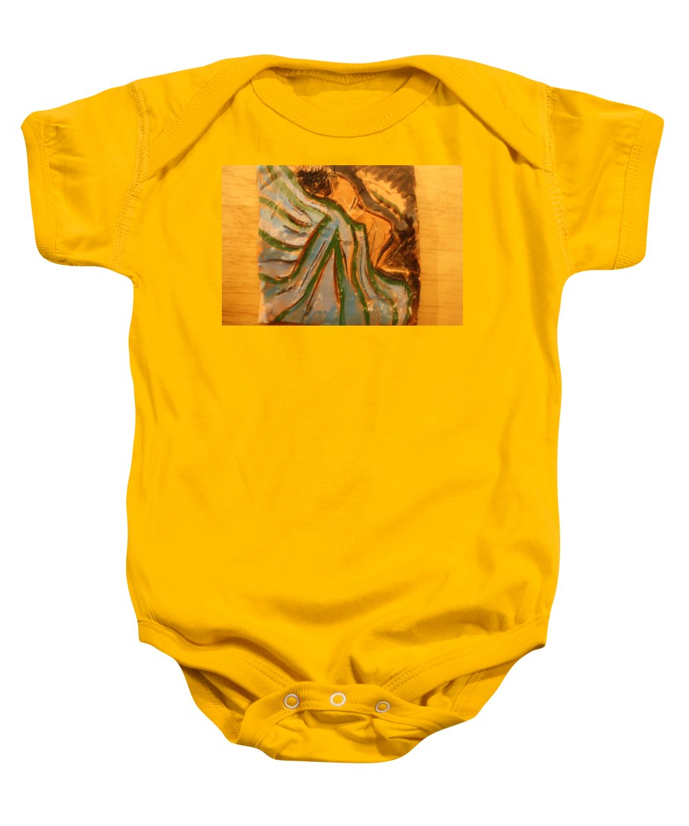 Jesus Baby Onesie featuring the ceramic art Relieved - Tile by Gloria Ssali