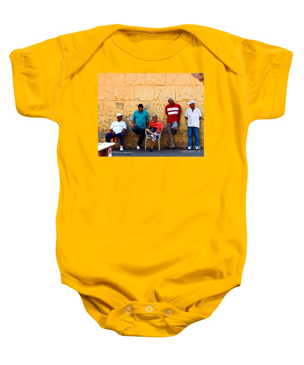 Senior Baby Onesie featuring the photograph Retired Men And Yellow Wall Cartegena by Thomas Marchessault