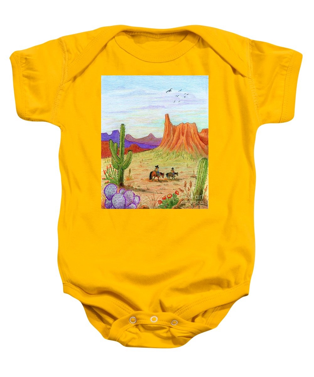 Southwest Scene Baby Onesie featuring the drawing Ridin' The Range by Marilyn Smith