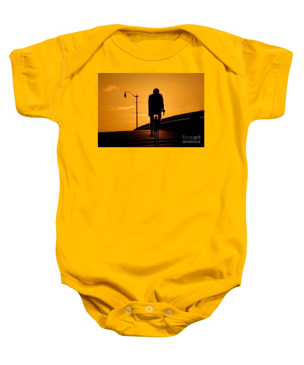Bicycle Baby Onesie featuring the photograph Riding At Sunset by David Lee Thompson