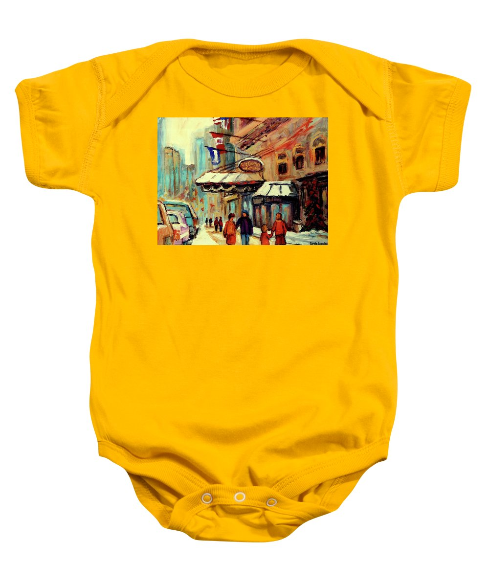 The Ritz Carlton Hotel Baby Onesie featuring the painting Ritz Carlton Montreal Cityscenes by Carole Spandau