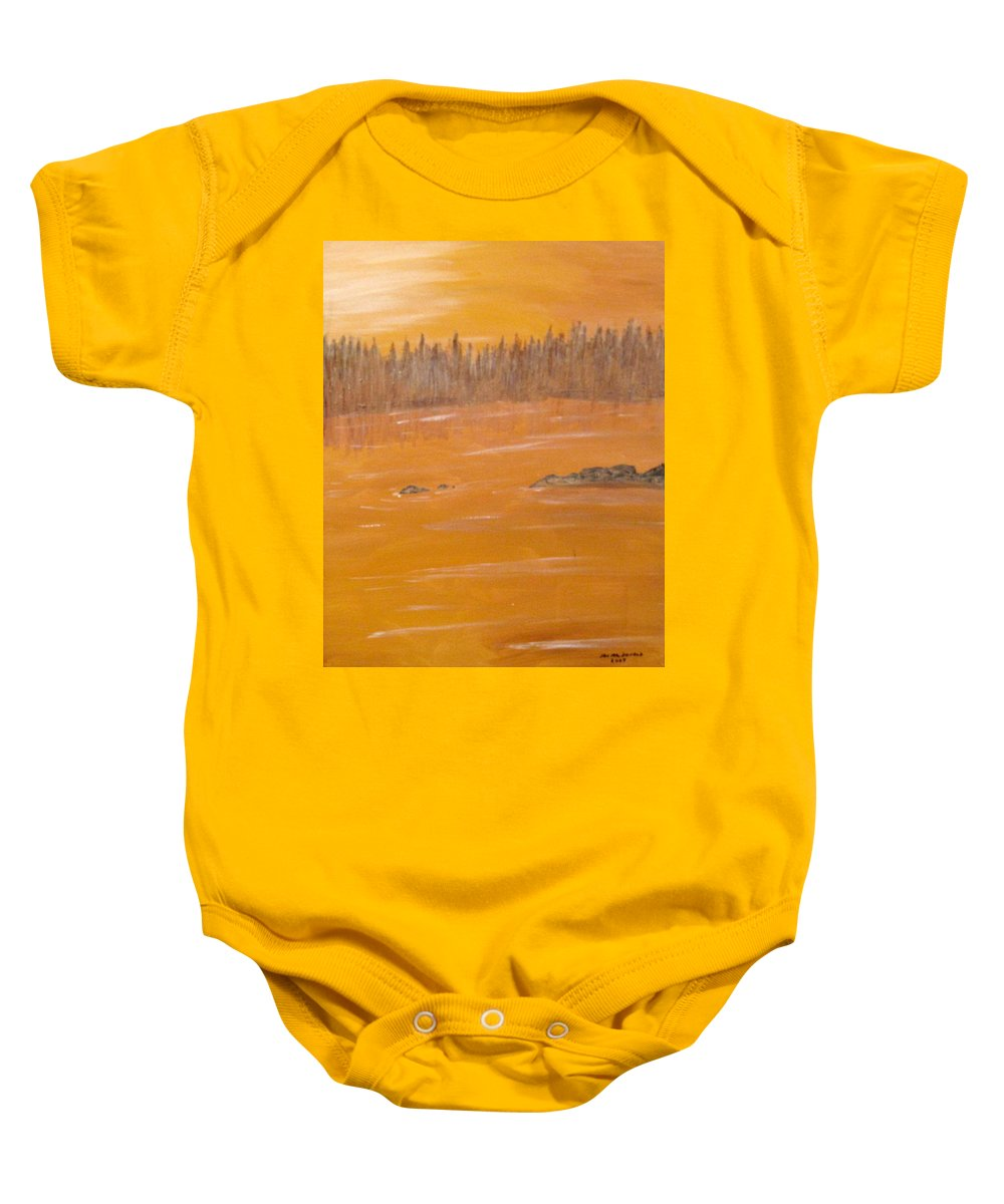 Northern Ontario Baby Onesie featuring the painting Rock Lake Morning 2 by Ian MacDonald