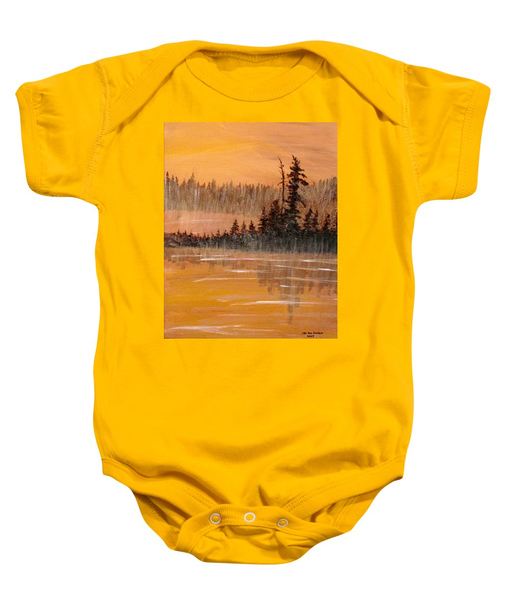 Northern Ontario Baby Onesie featuring the painting Rock Lake Morning 3 by Ian MacDonald