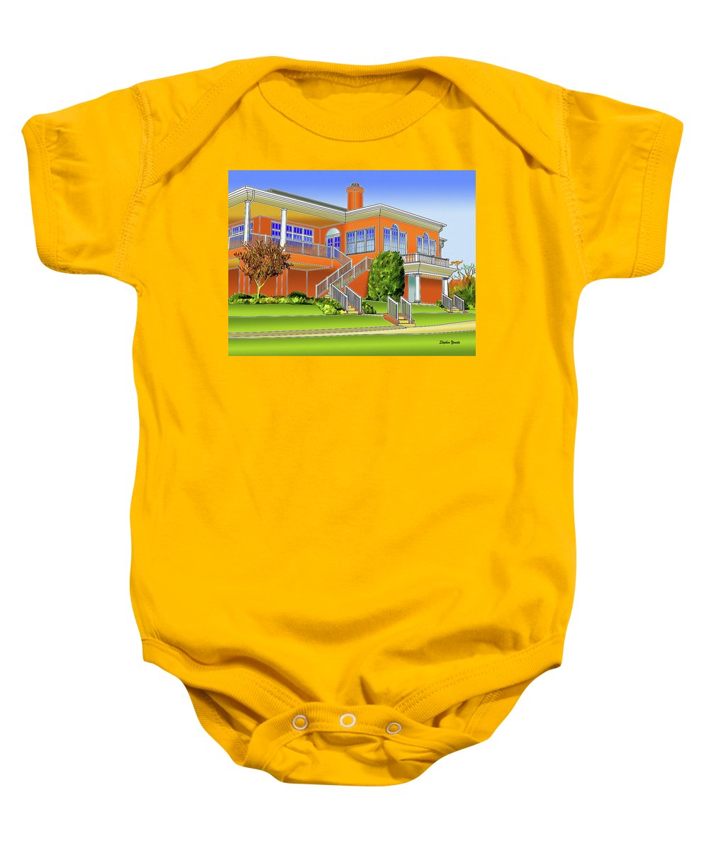 Catonsville Baby Onesie featuring the digital art Rolling Road Golf Club by Stephen Younts