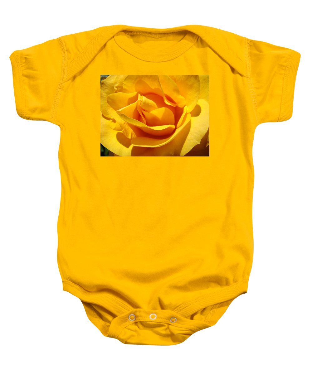 Rose Baby Onesie featuring the photograph Rose Flower Orange Yellow Roses 1 Golden Sunlit Rose Baslee Troutman by Baslee Troutman