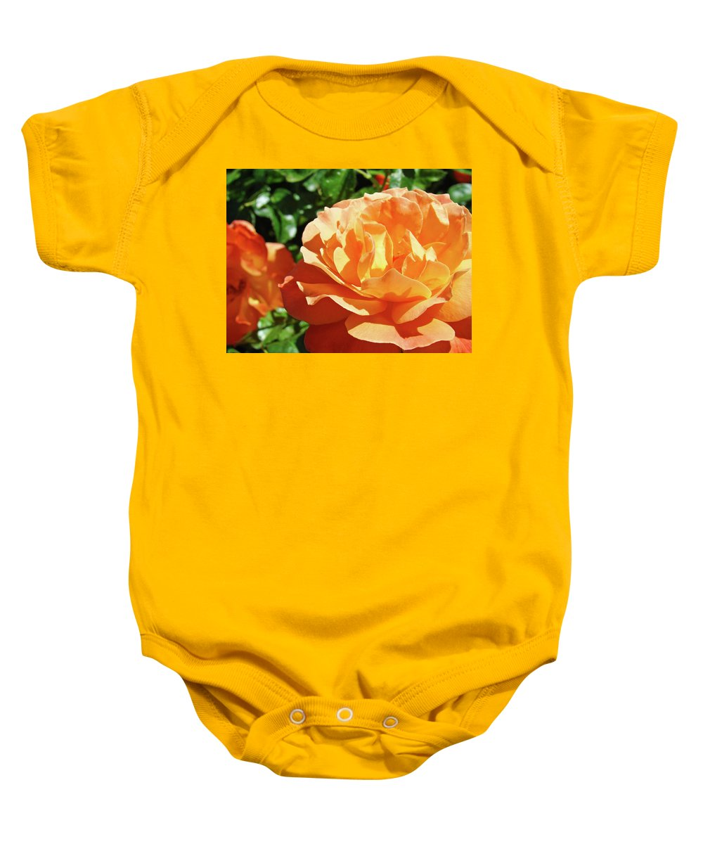 Rose Baby Onesie featuring the photograph Roses Art Prints Orange Rose Flower 11 Giclee Prints Baslee Troutman by Baslee Troutman