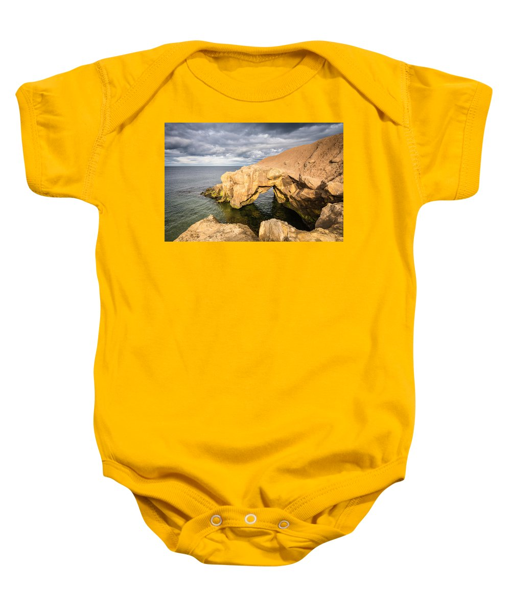Bay Baby Onesie featuring the photograph Saddle Rocks At High Tide by David Head