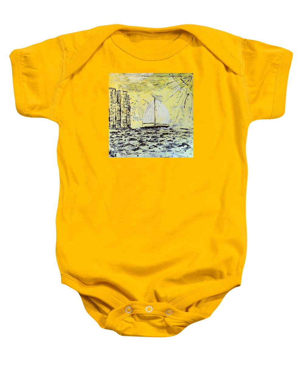 Sailboat With Sunray Baby Onesie featuring the painting Sail And Sunrays by J R Seymour