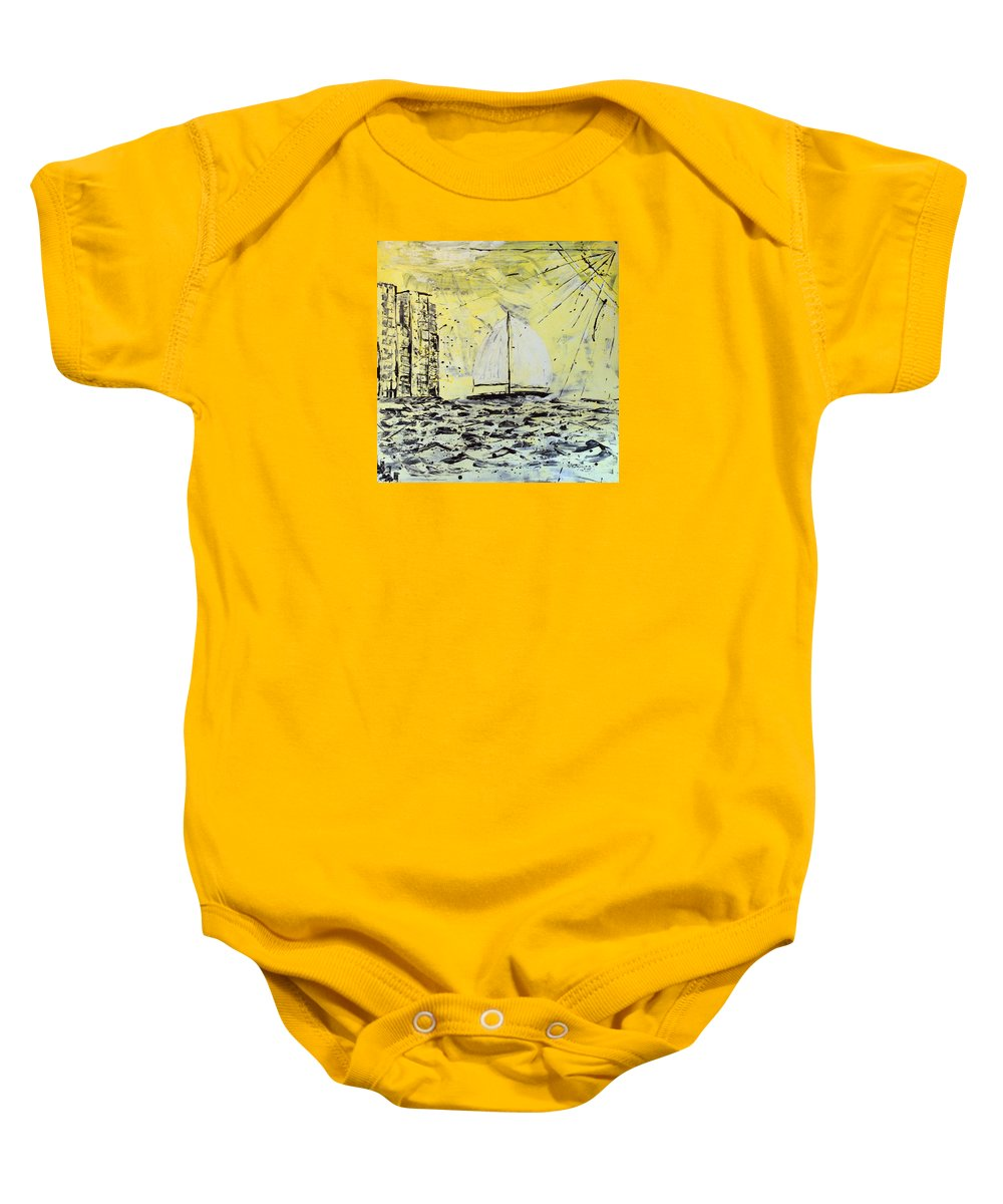 Abstract Baby Onesie featuring the painting Sail And Sunrays by J R Seymour