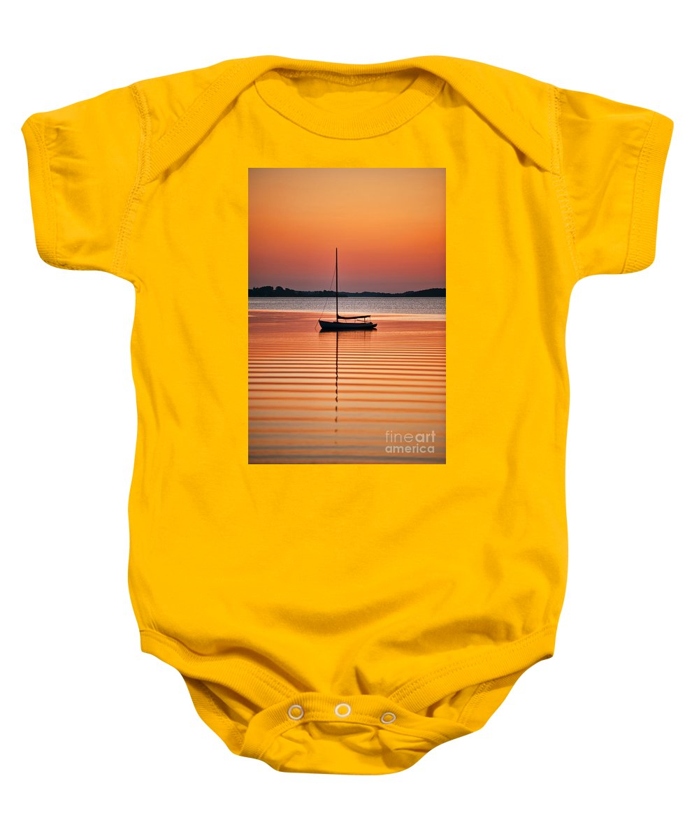 Cape Cod Baby Onesie featuring the photograph Sailboat At Sunset by John Greim