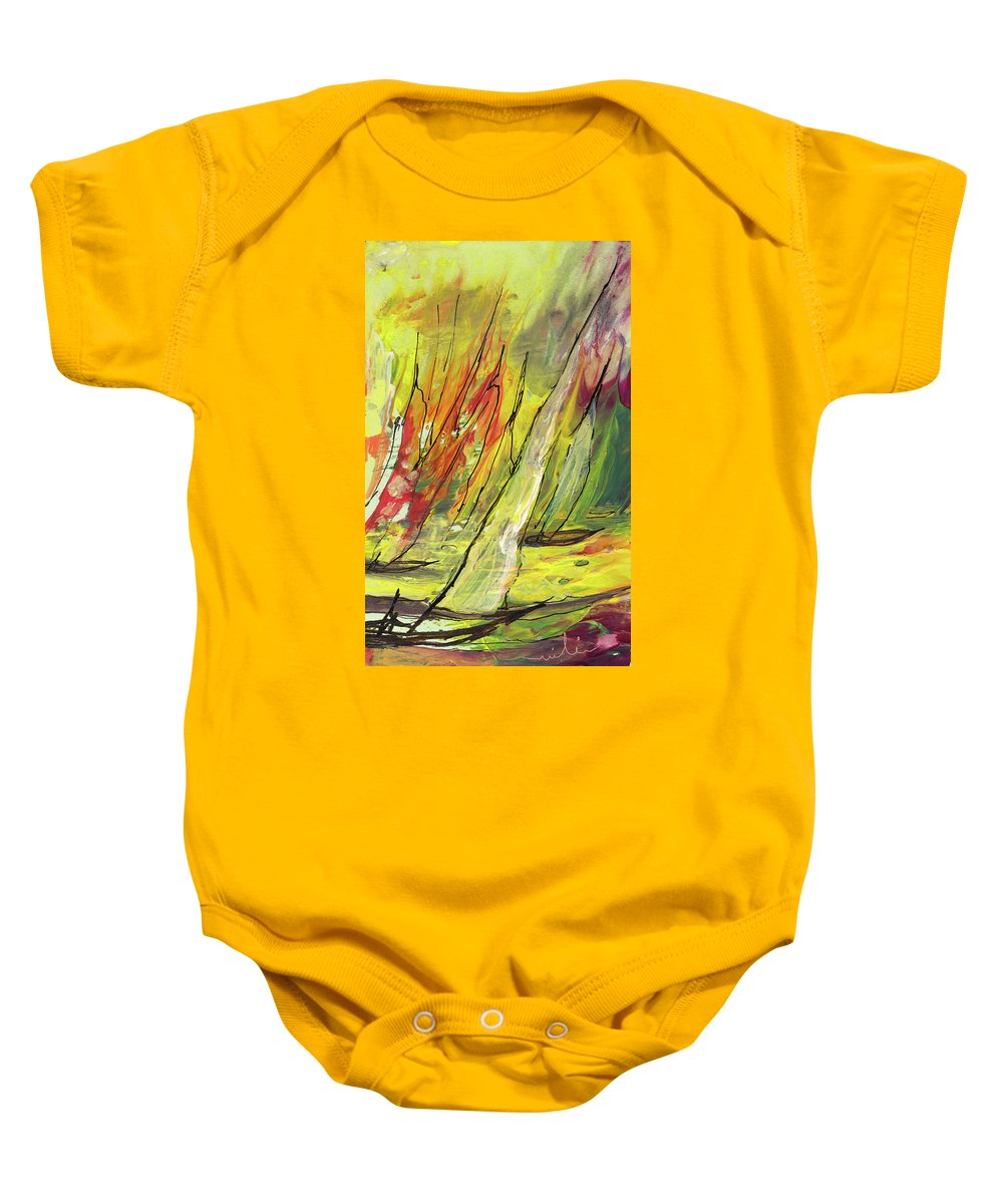 Sports Baby Onesie featuring the painting Sailing Impression 04 by Miki De Goodaboom