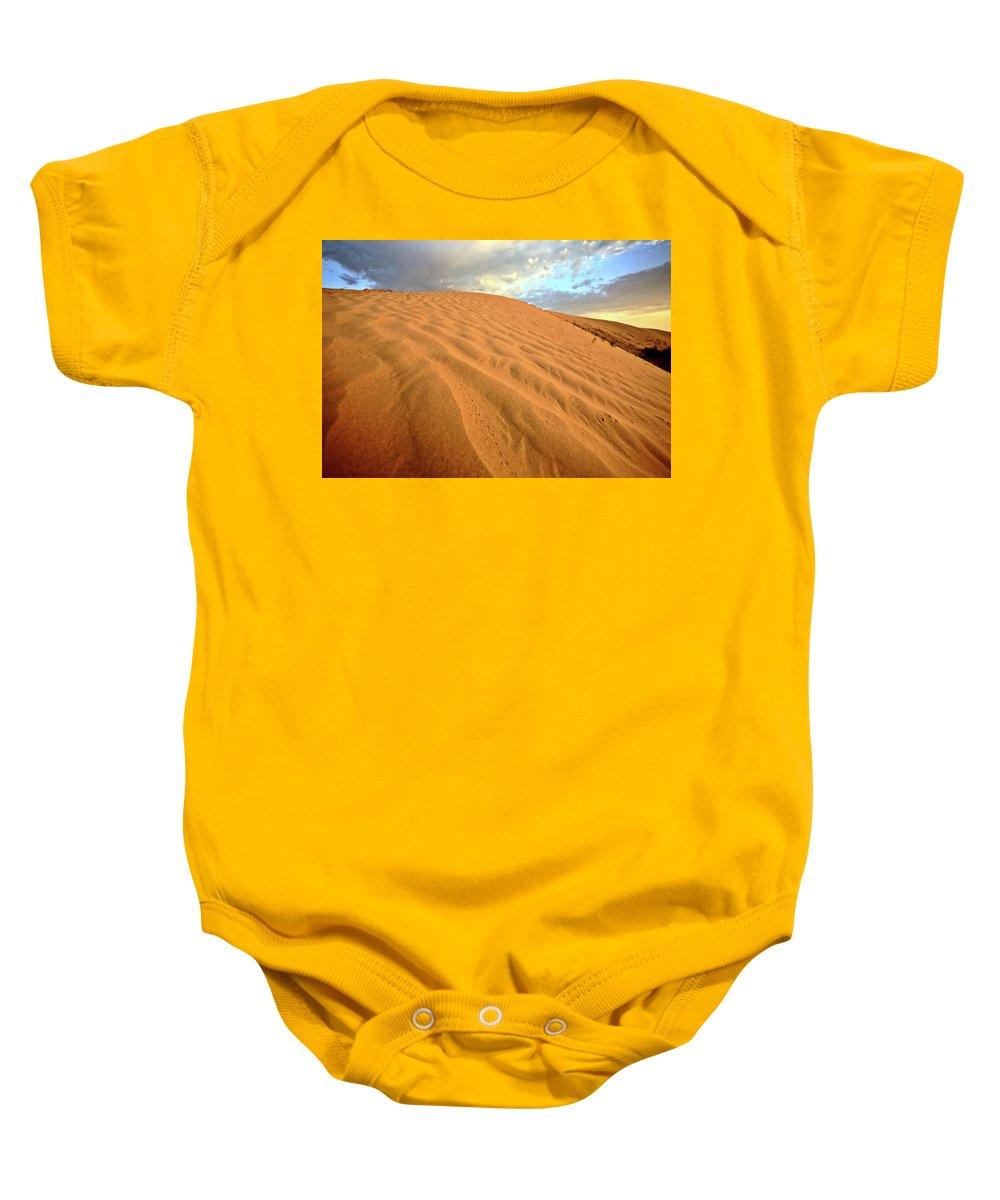 Sand Dune Baby Onesie featuring the digital art Sand Dune At Great Sand Hills In Scenic Saskatchewan by Mark Duffy