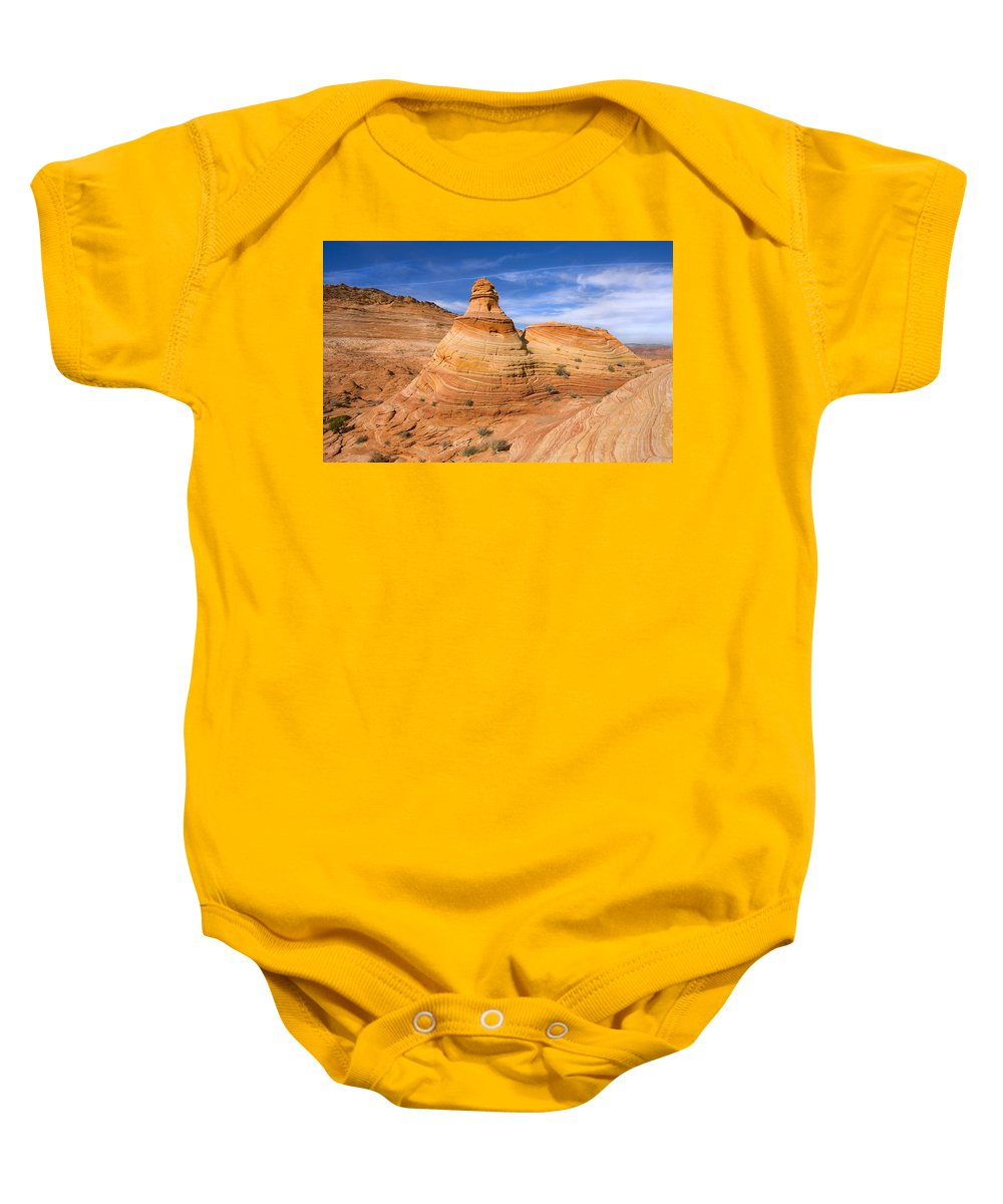 Tent Baby Onesie featuring the photograph Sandstone Tent Rock by Mike Dawson