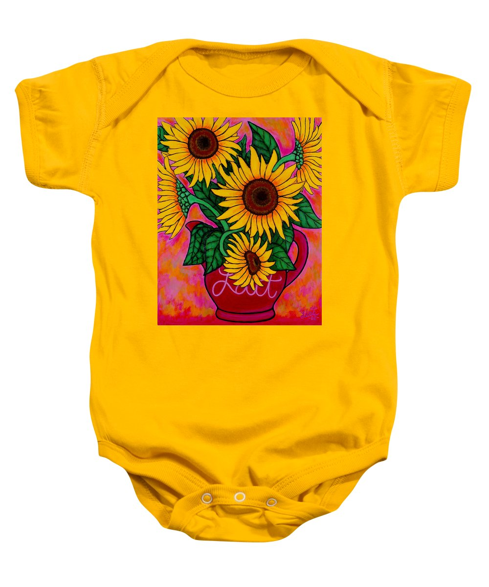 Sunflowers Baby Onesie featuring the painting Saturday Morning Sunflowers by Lisa Lorenz