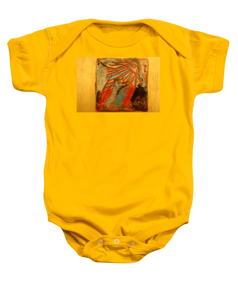 Jesus Baby Onesie featuring the ceramic art Save It - Tile by Gloria Ssali