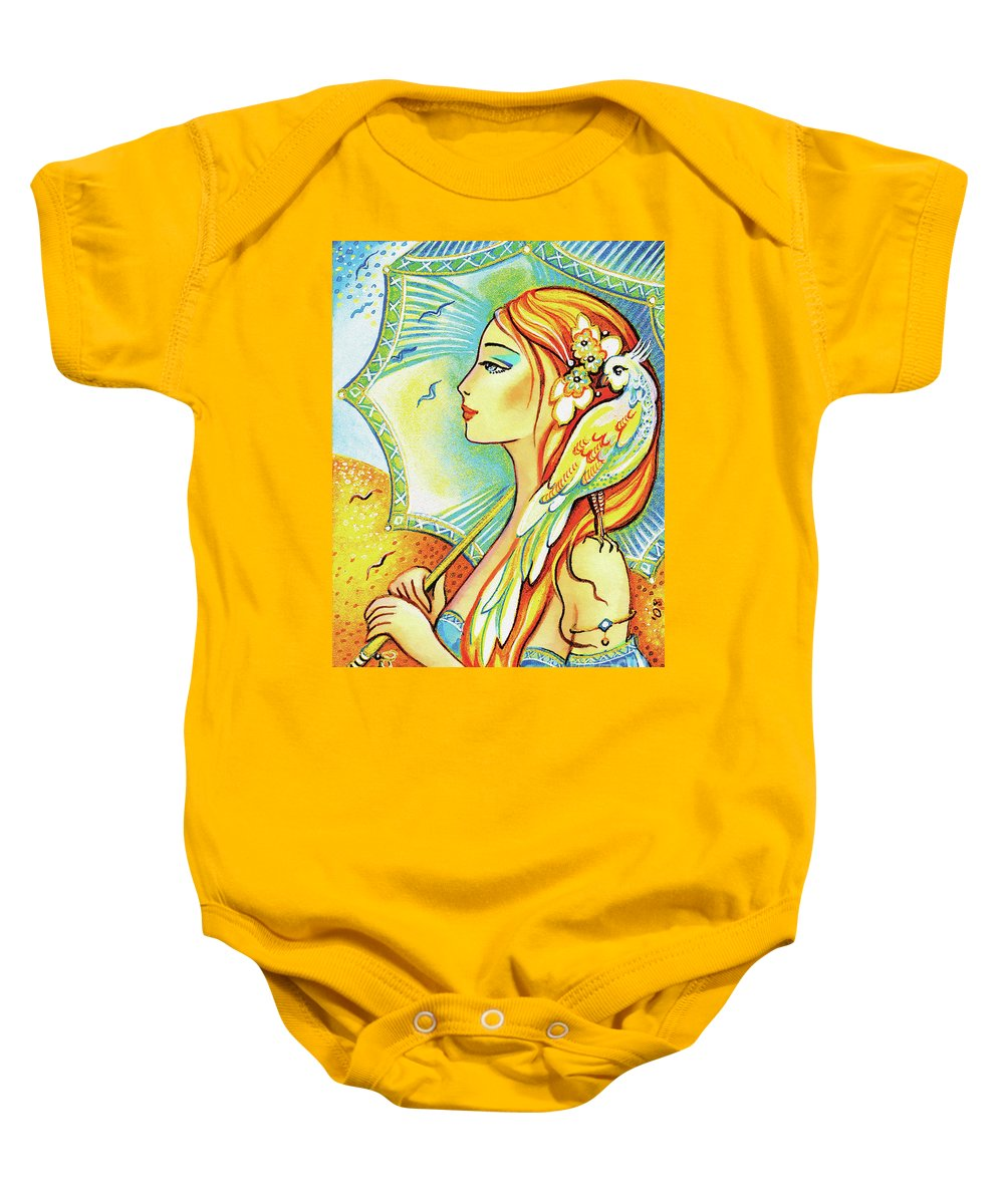 Dove Woman Baby Onesie featuring the painting Sea Walk by Eva Campbell
