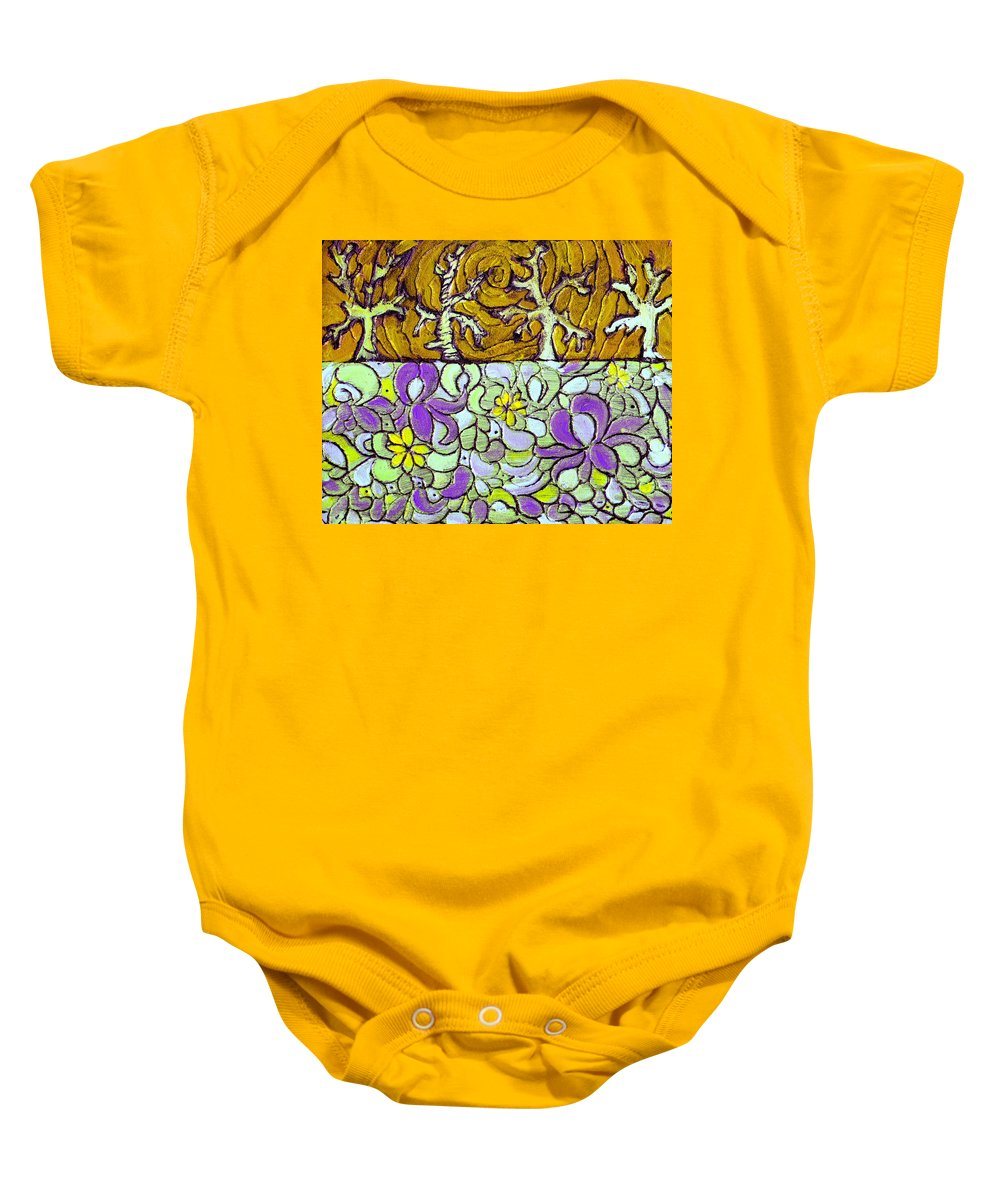 Meadow Baby Onesie featuring the painting Seduced By The Meadow by Wayne Potrafka