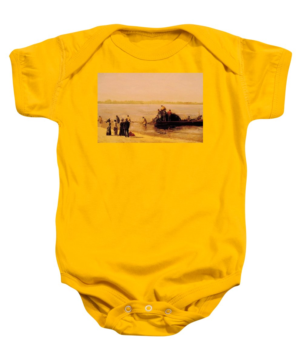 Shad Baby Onesie featuring the painting Shad Fishing At Gloucester On The Delaware River 1881 by Eakins Thomas