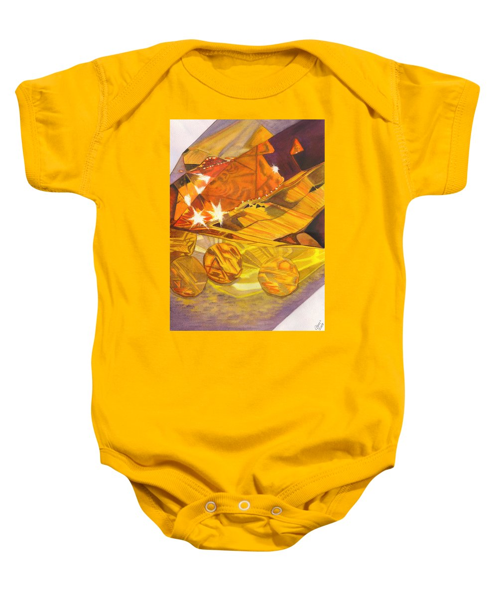 Prism Baby Onesie featuring the painting Shades Of Yellow by Catherine G McElroy