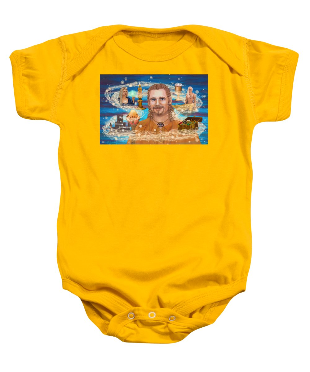 Magic Baby Onesie featuring the digital art Shaman Storey by Roz Eve