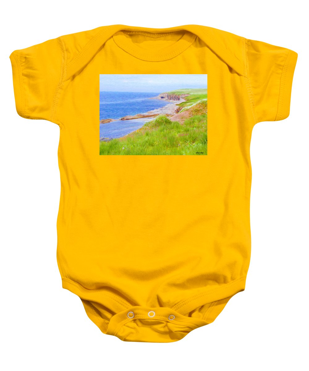 Canadian Baby Onesie featuring the painting Shores Of Newfoundland by Jeffrey Kolker