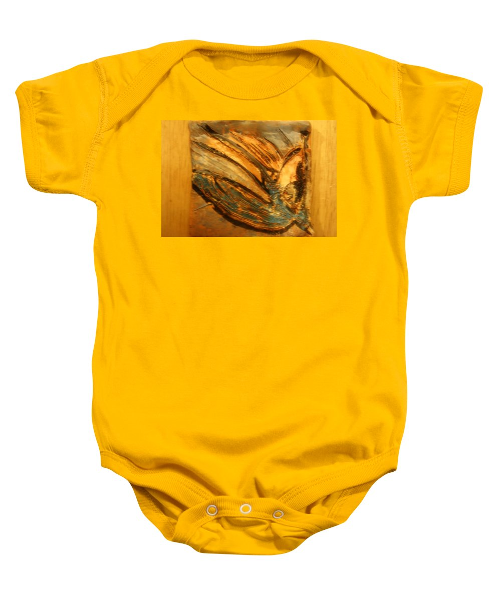 Jesus Baby Onesie featuring the ceramic art Silver Liberty - Tile by Gloria Ssali