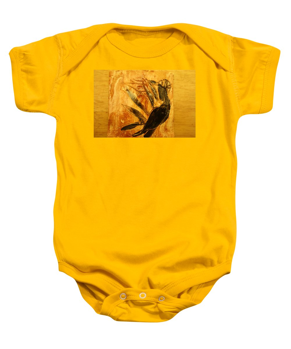 Jesus Baby Onesie featuring the ceramic art Simple Joy - Tile by Gloria Ssali