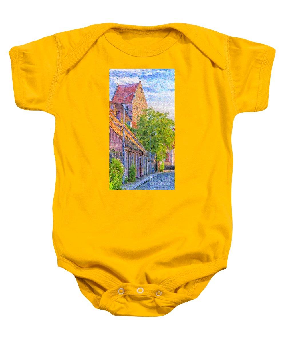 Digital Baby Onesie featuring the painting Simrishamn Street Scene Digital Painting by Antony McAulay