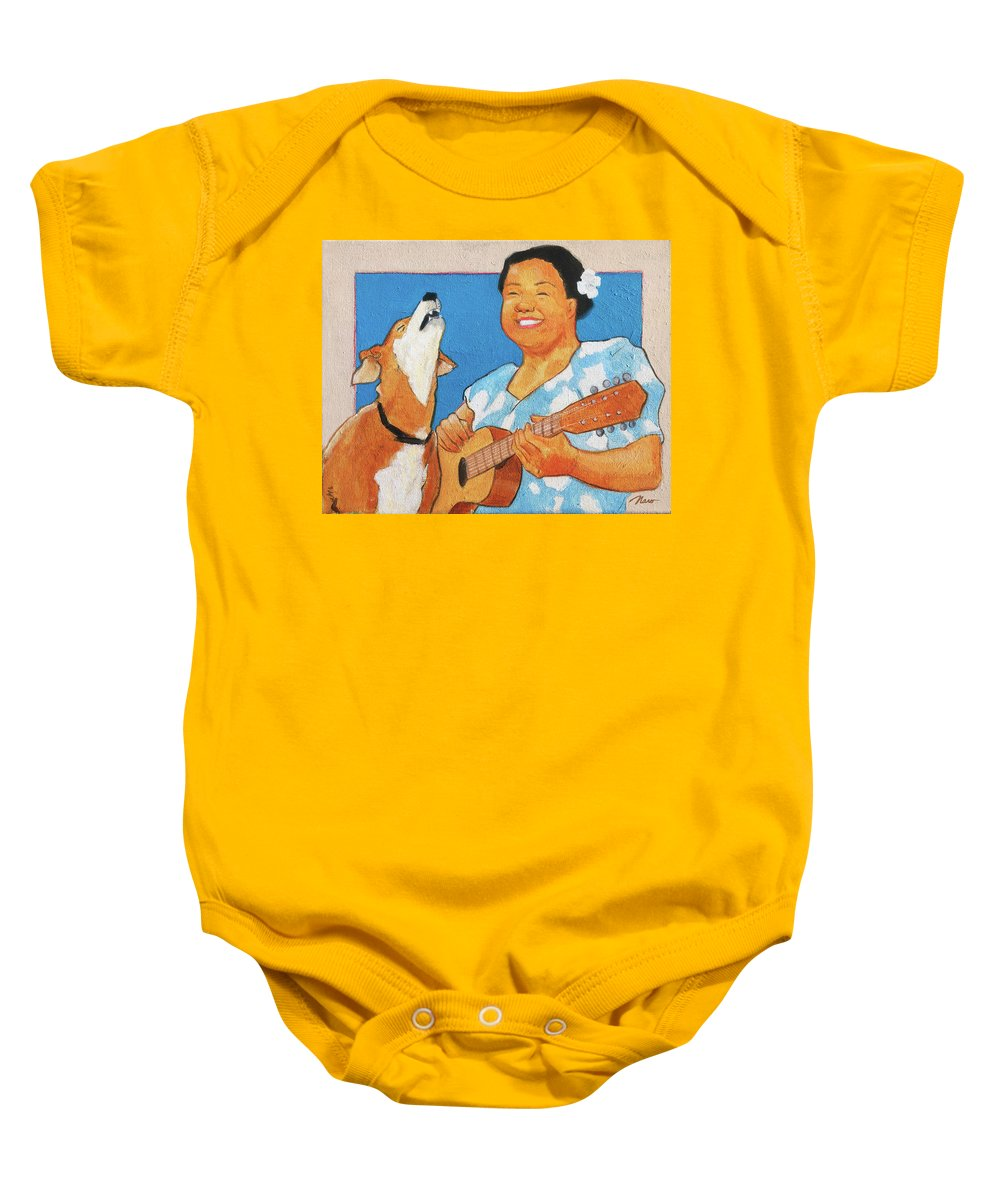 Hawaiian Baby Onesie featuring the painting Sing To Me by Naro Naro