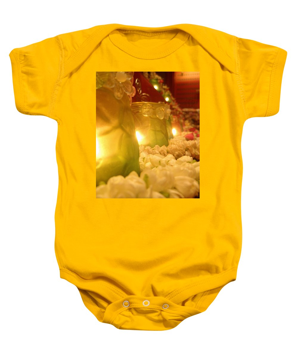 Singapore Temple Religion Buddhism Candle Lamp Light Chinese Chinatown Culture Tradition Flowers Baby Onesie featuring the photograph Singapore Temple Offering Lamps 2 by Mark Sellers