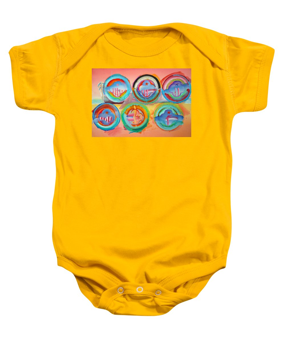 9/11 Baby Onesie featuring the painting Six American Icons by Charles Stuart