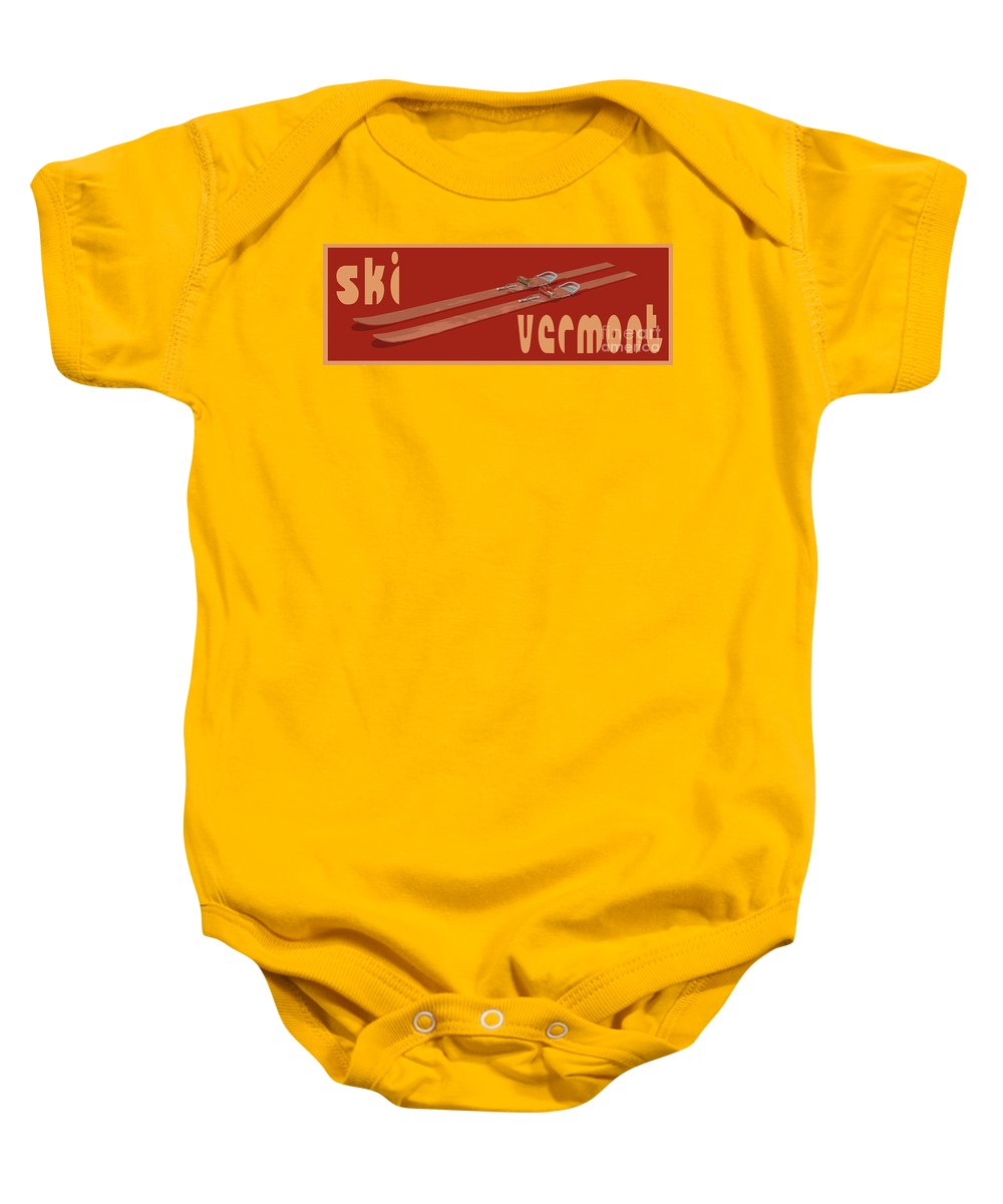 Ski Baby Onesie featuring the digital art Ski Vermont by Edward Fielding