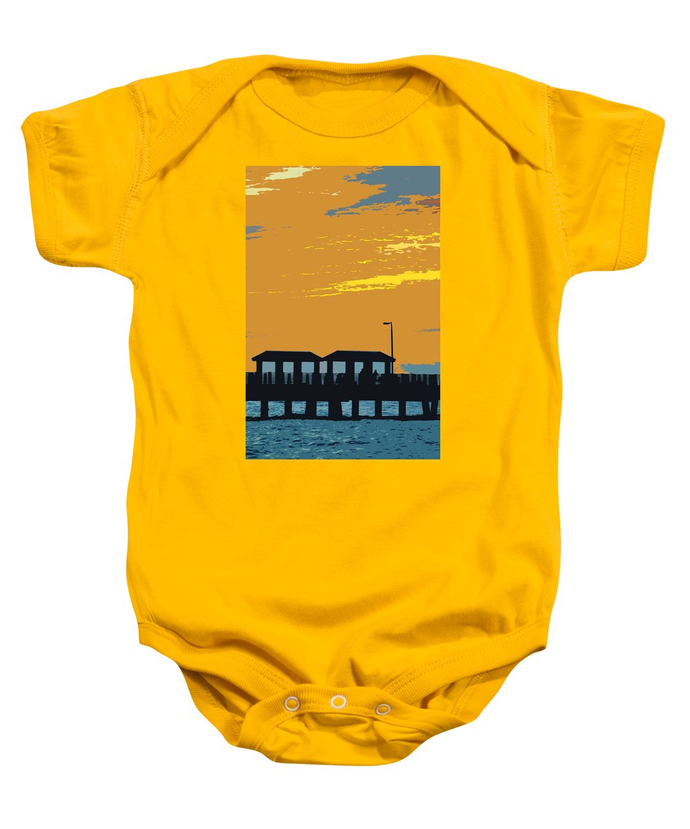 Fishing Pier Baby Onesie featuring the painting Sky and pier by David Lee Thompson