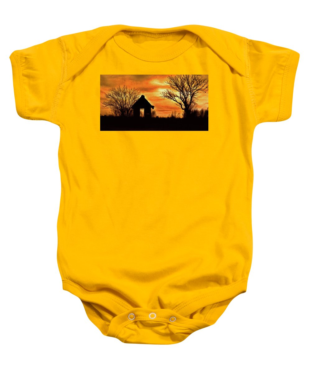 Silhouette Baby Onesie featuring the photograph Sky On Fire by Robert Brown