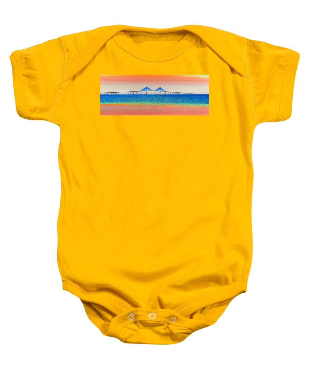 Art Baby Onesie featuring the painting Skyway Morning by David Lee Thompson