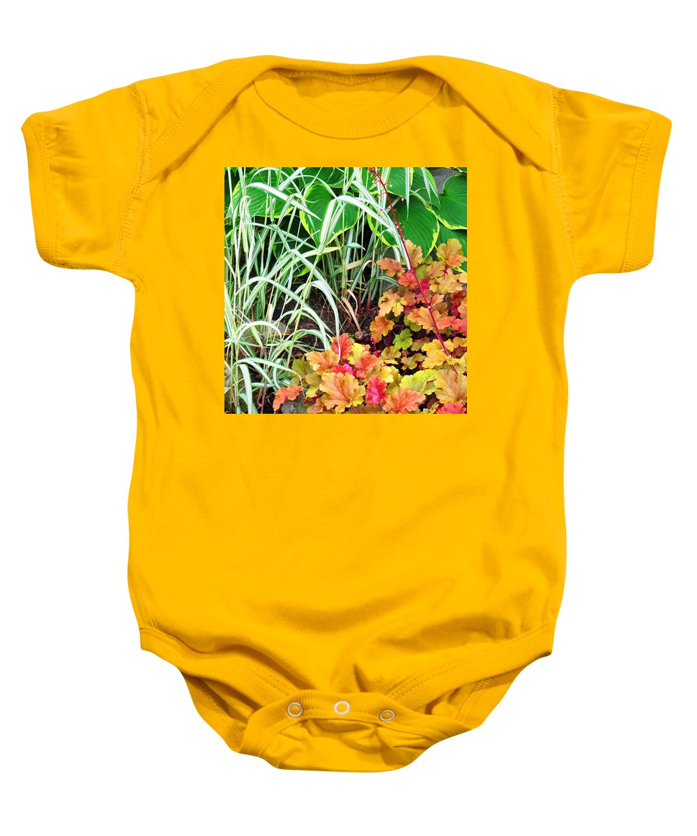 Garden Baby Onesie featuring the photograph Snail In A Rich Composition by Ian MacDonald