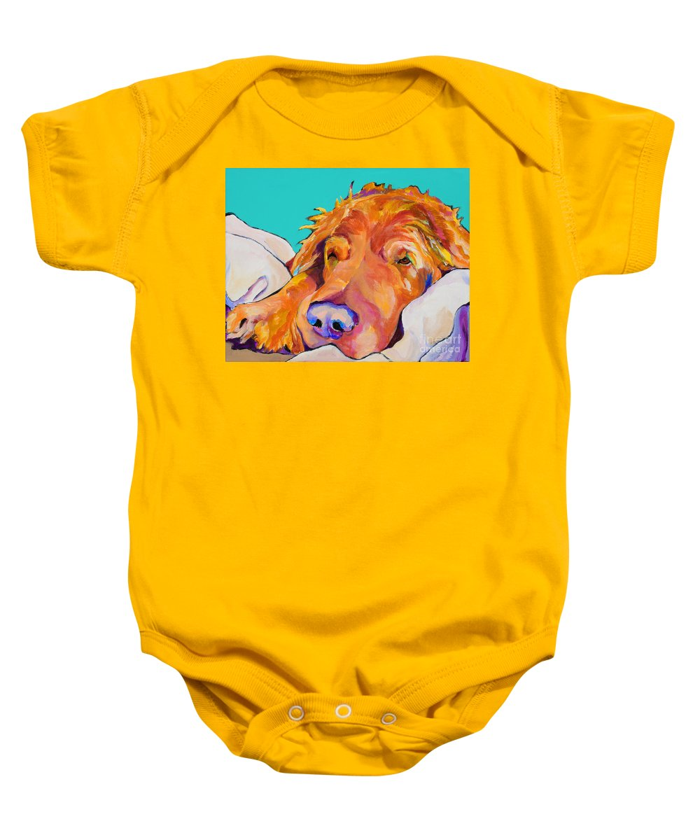 Dog Poortraits Baby Onesie featuring the painting Snoozer King by Pat Saunders-White