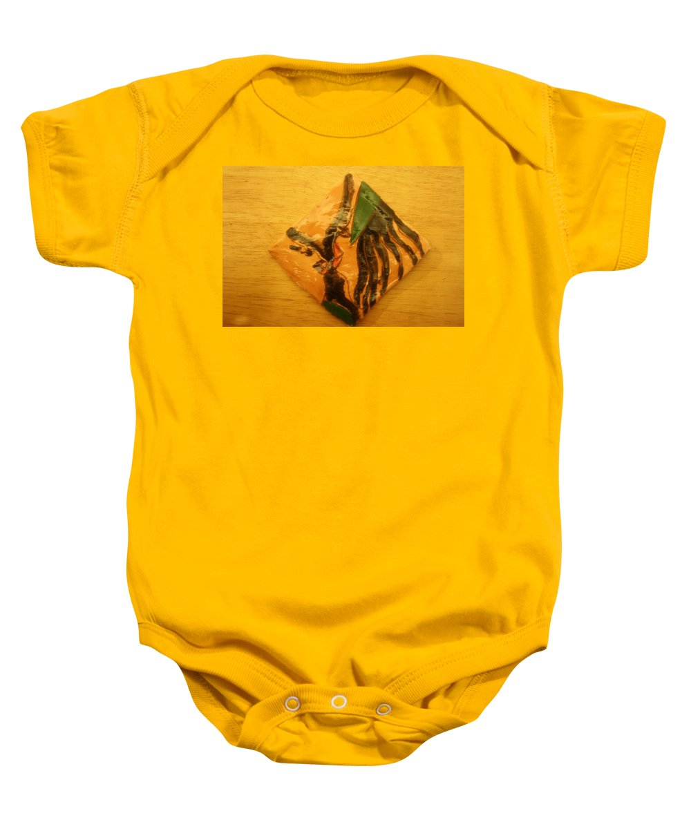 Jesus Baby Onesie featuring the ceramic art Sofias Gal - Tile by Gloria Ssali
