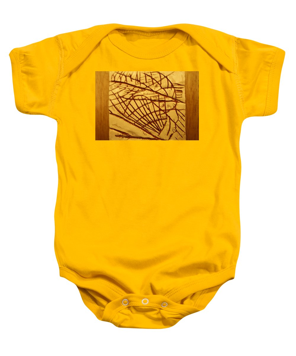 Jesus Baby Onesie featuring the ceramic art Solid - Tile by Gloria Ssali