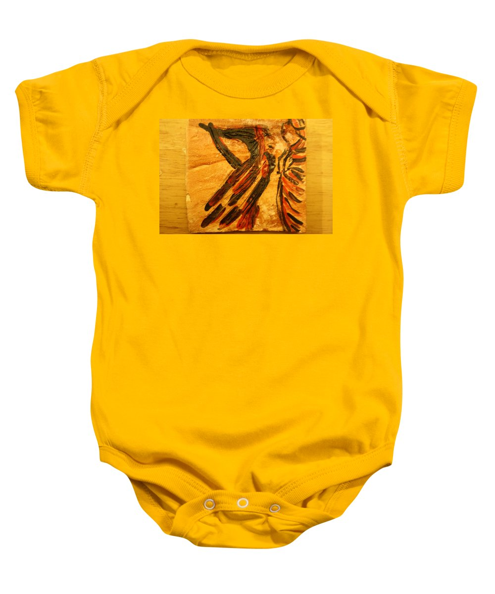 Jesus Baby Onesie featuring the ceramic art Something For Me - Tile by Gloria Ssali