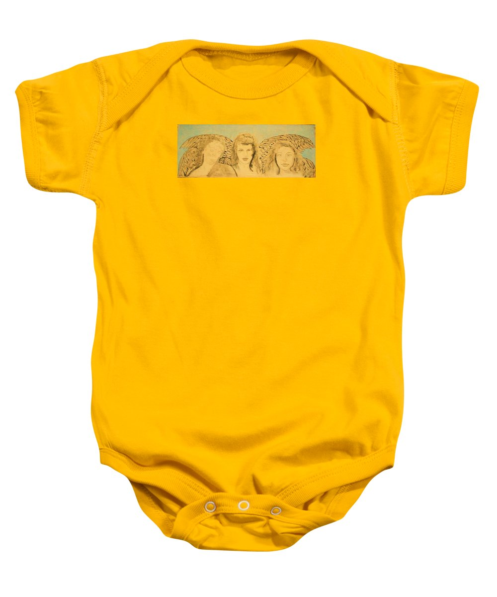 Angels Baby Onesie featuring the drawing Song Of The Sisters Unfinished by J Bauer