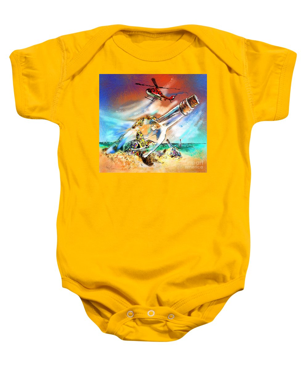 Turtles Baby Onesie featuring the painting Sos To The World by Miki De Goodaboom